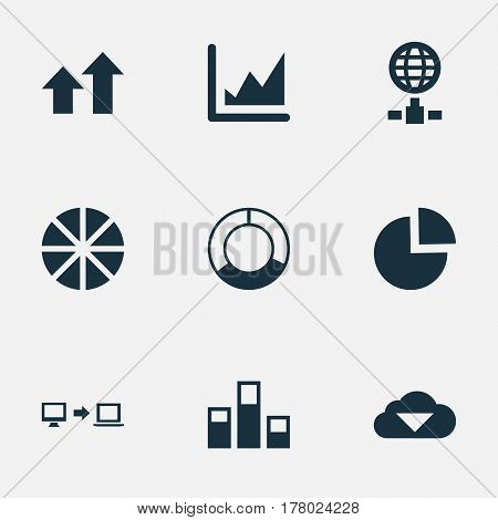 Vector Illustration Set Of Simple Analysis Icons. Elements Increase Graph, Internet Server, Cycle Chart And Other Synonyms Chart, Data And Growth.