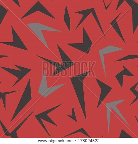 Seamless abstract pattern with simple polygons on red background