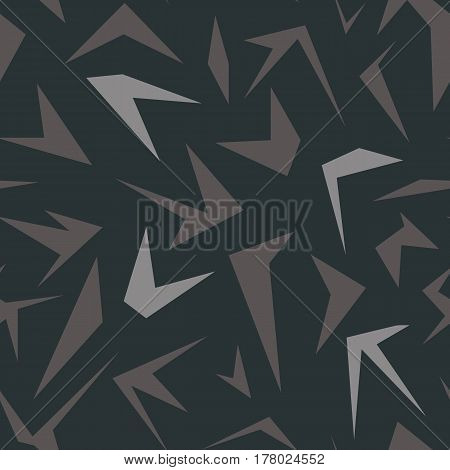 Seamless geometrical pattern with simple polygons on dark gray background