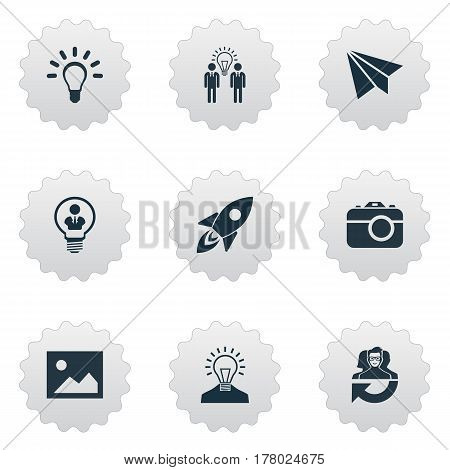 Vector Illustration Set Of Simple Creative Thinking Icons. Elements Lightbulb, Leadership, Photo Tool And Other Synonyms Camera, Idea And Rocket.