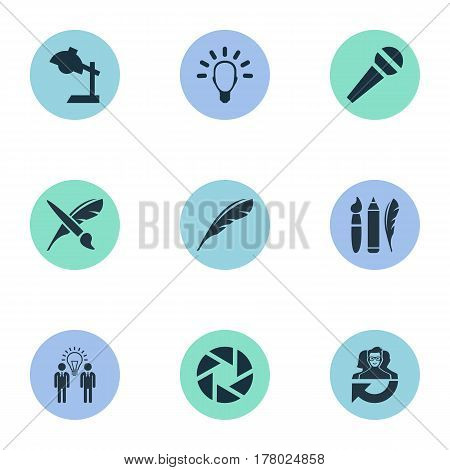 Vector Illustration Set Of Simple Visual Art Icons. Elements Leadership, Interview, Plume And Other Synonyms Education, Aperture And Cooperation.