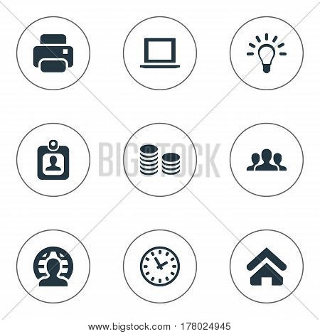 Vector Illustration Set Of Simple Trade Icons. Elements Hard Money, Bulb, Member And Other Synonyms Unity, Watch And Home.