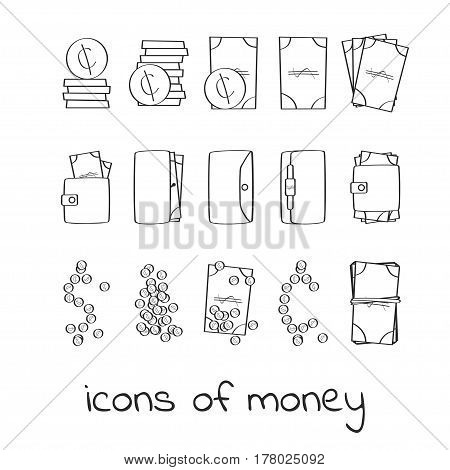 Hand draw money icons. Collection of linear signs of dollars and cents. For web and app design