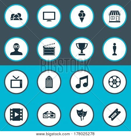 Vector Illustration Set Of Simple Movie Icons. Elements Trophy, Oscar, Television And Other Synonyms Trophy, Tv And Structure.