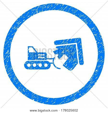 Demolition grainy textured icon inside circle for overlay watermark stamps. Flat symbol with dust texture. Circled dotted vector blue ink rubber seal stamp with grunge design on a white background.