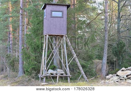 view of wildlife observation point. Niederösterreich Austria