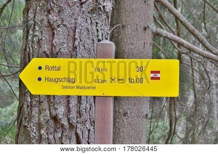 view of tourist signposting Niederösterreich state Austria