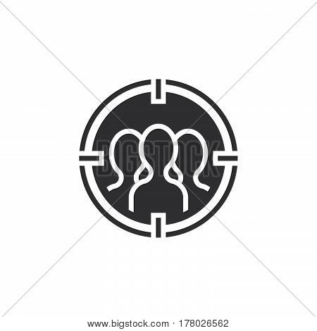 audience targeting icon vector filled flat sign solid pictogram isolated on white logo illustration