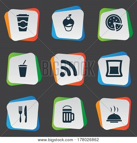 Vector Illustration Set Of Simple Cafe Icons. Elements Wireless Connection, Pepperoni, Soft Drink And Other Synonyms Food, Glass And Pizza.
