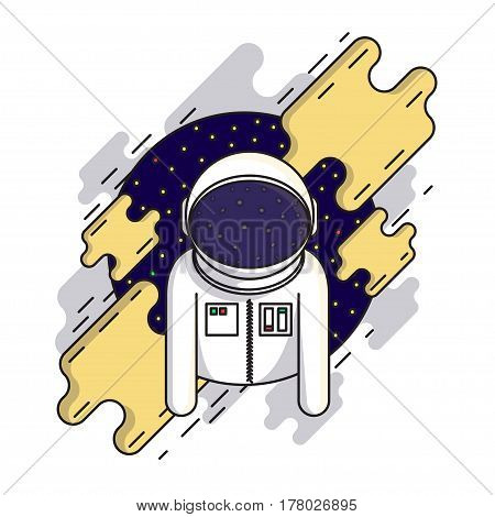 Cute astronaut in outer space in spacesuit and helmet. Cosmic vector illustration. Modern flat style design. Suitable for printing on clothing and souvenirs