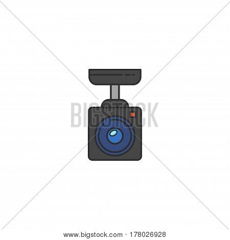 Surveillance Camera Vector Flat Icon. Sign For Infographic, Website Or App.