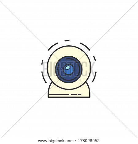 Isolated Vector Webcam Icon. Web Camera Flat Icon For Infographic, Website Or App. Chat Sign.