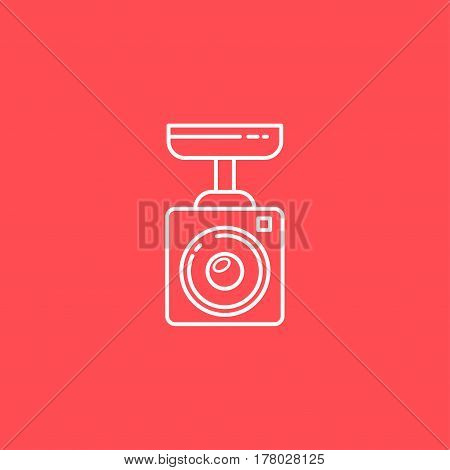 Surveillance Camera Vector Line Icon. Sign For Infographic, Website Or App.