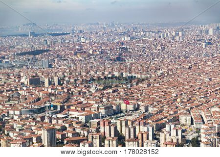 Istanbul big city area with a lot of apartments and turkish flag