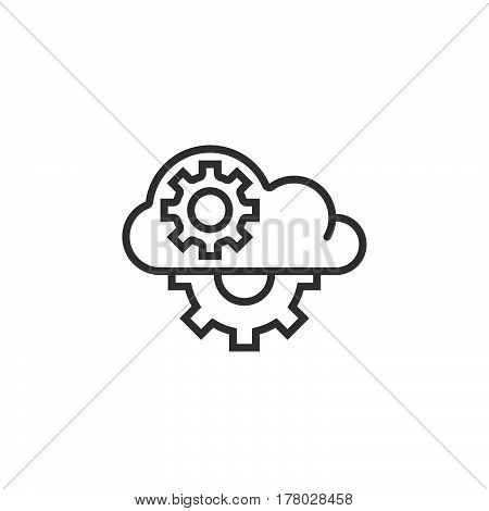 Cloud with gears line icon outline vector sign linear pictogram isolated on white. logo illustration