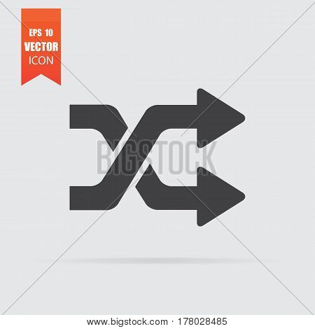 Intersection Arrows Icon In Flat Style Isolated On Grey Background.