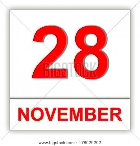 November 28. Day on the calendar. 3D illustration