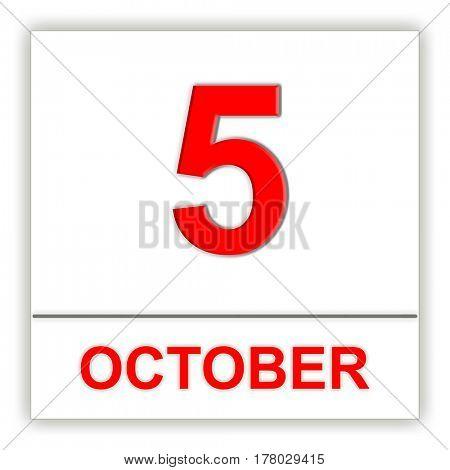 October 5. Day on the calendar. 3D illustration