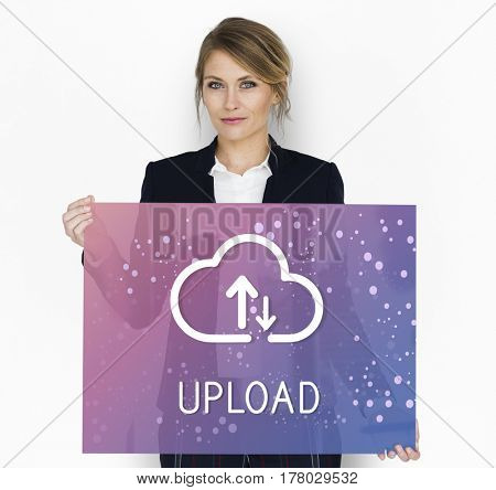 Upload is a file transfer to another computer system.