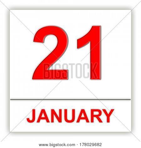 January 21. Day on the calendar. 3D illustration