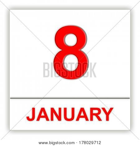 January 8. Day on the calendar. 3D illustration