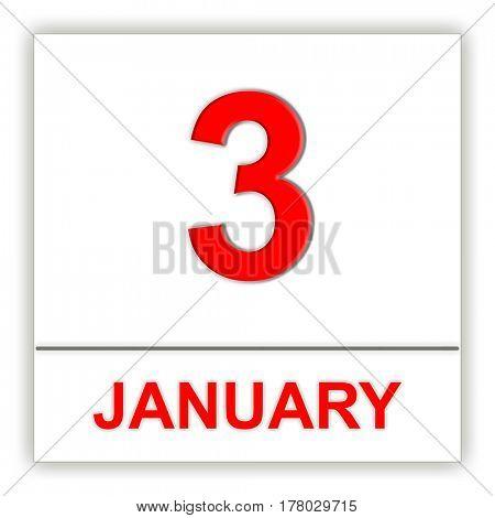 January 3. Day on the calendar. 3D illustration