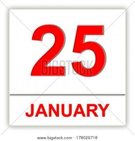 January 25. Day on the calendar. 3D illustration