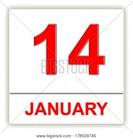 January 14. Day on the calendar. 3D illustration