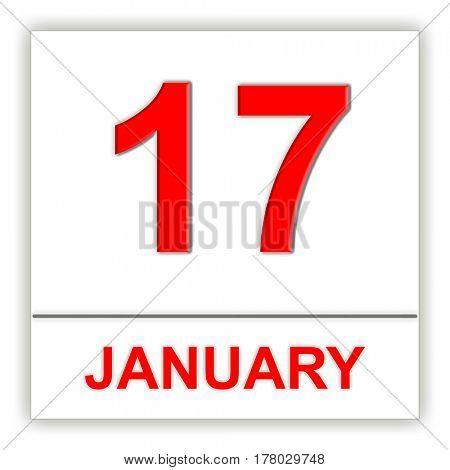 January 17. Day on the calendar. 3D illustration