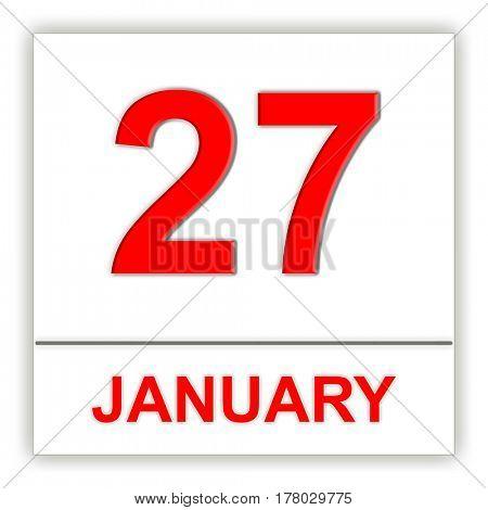 January 27. Day on the calendar. 3D illustration