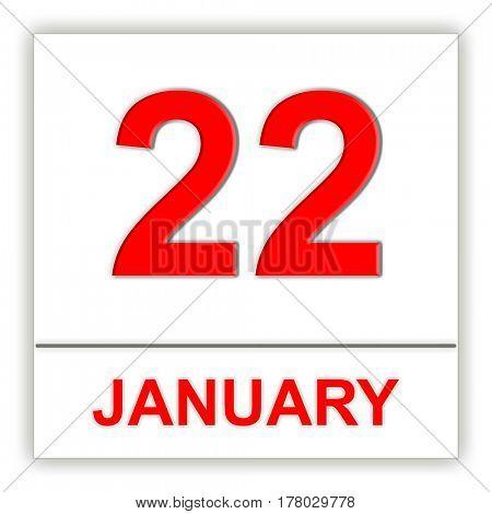 January 22. Day on the calendar. 3D illustration