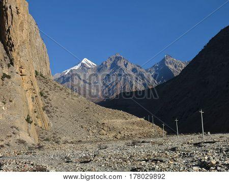 Muktinath Himal mountain range in the Annapurna Conservation Area Nepal. Panda Khola valley near Jomosom.