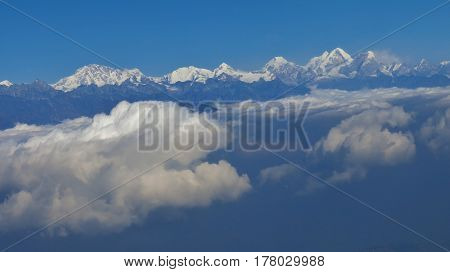 Mountains of the Himalayas seen from the flight to Kathmandu.