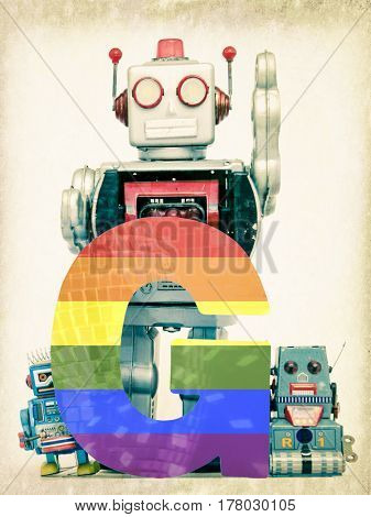 G for gay pride with  vintage robot toys