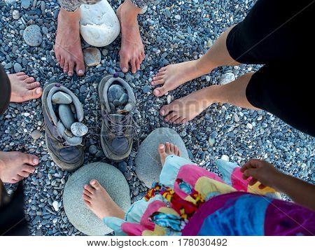 Together on the beautiful stony beach Chishintan Beach