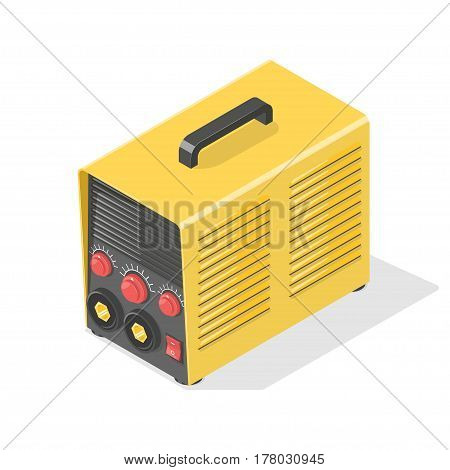 Welding machine Icon isolated on white. Isometric vector illustration