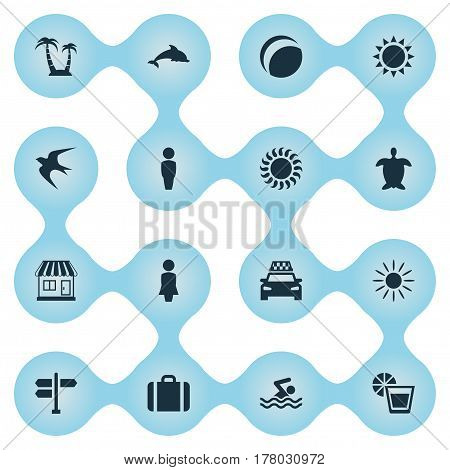 Vector Illustration Set Of Simple Seaside Icons. Elements Sunlight, Taxi, Sun And Other Synonyms Beach, Sunlight And Cab.