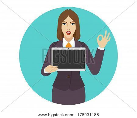 Businesswoman holding a digital tablet PC and showing a okay hand sign. Portrait of businesswoman in a flat style. Vector illustration.