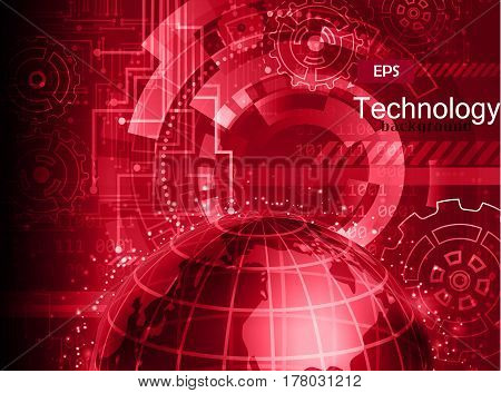 Abstract technology background vector illustration in red
