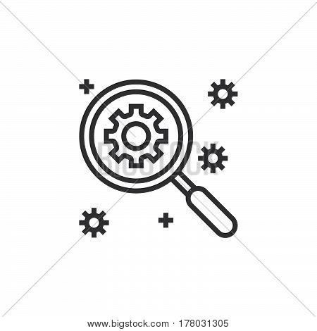 SEO Search engine optimization symbol. magnifying glass and gear line icon outline vector sign linear pictogram isolated on white. logo illustration
