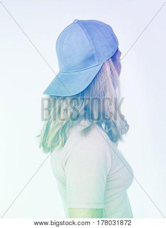 Woman Wear Cap Portrait Studio