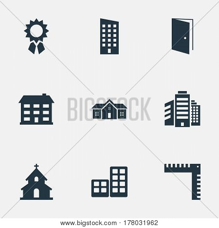 Vector Illustration Set Of Simple Construction Icons. Elements Superstructure, Flat, Residence And Other Synonyms Length, Flat And Scale.