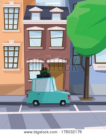 Digital vector abstract background with a street and road between houses, urban, cartoony green car with luggage on top, big green tree, flat triangle style