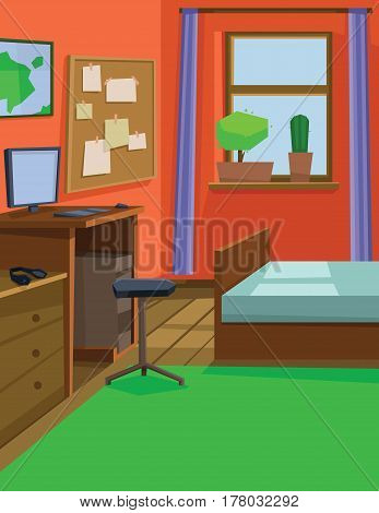 Digital vector abstract background with a small house interior with a bed by the window, computer table and chair, flowers and audio headset, flat style