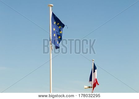 Flag French And Europe In Blue Sky