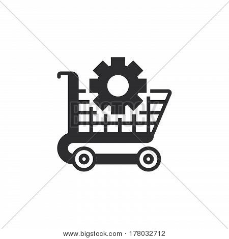 Ecommerce optimization symbol. Shopping cart and gear icon vector filled flat sign solid pictogram isolated on white logo illustration