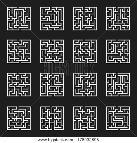 Maze Game Set. Labyrinth with Entry and Exit. Vector Illustration.