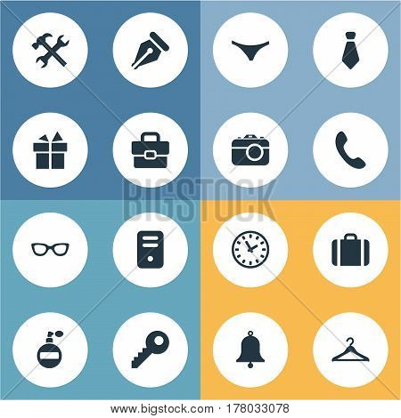 Vector Illustration Set Of Simple Accessories Icons. Elements Ink Pencil, Present, Business Bag And Other Synonyms Time, Watch And Repair.