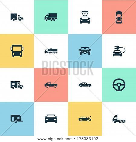 Vector Illustration Set Of Simple Auto Icons. Elements Car Charging, Repair, Steering Wheel And Other Synonyms Trucks, Electric And Wash.