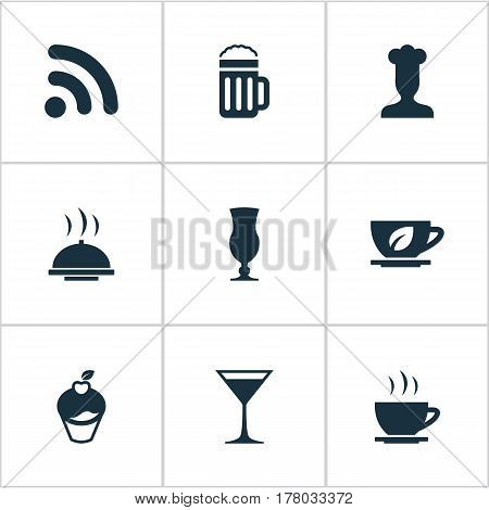Vector Illustration Set Of Simple Beverage Icons. Elements Coffee Late, Wineglass, Muffin And Other Synonyms Dessert, Beer And Wifi.